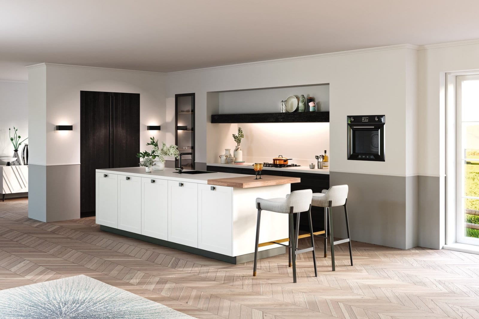 Rotpunkt White Painted Wood Door Kitchen With Cast Iron Handles