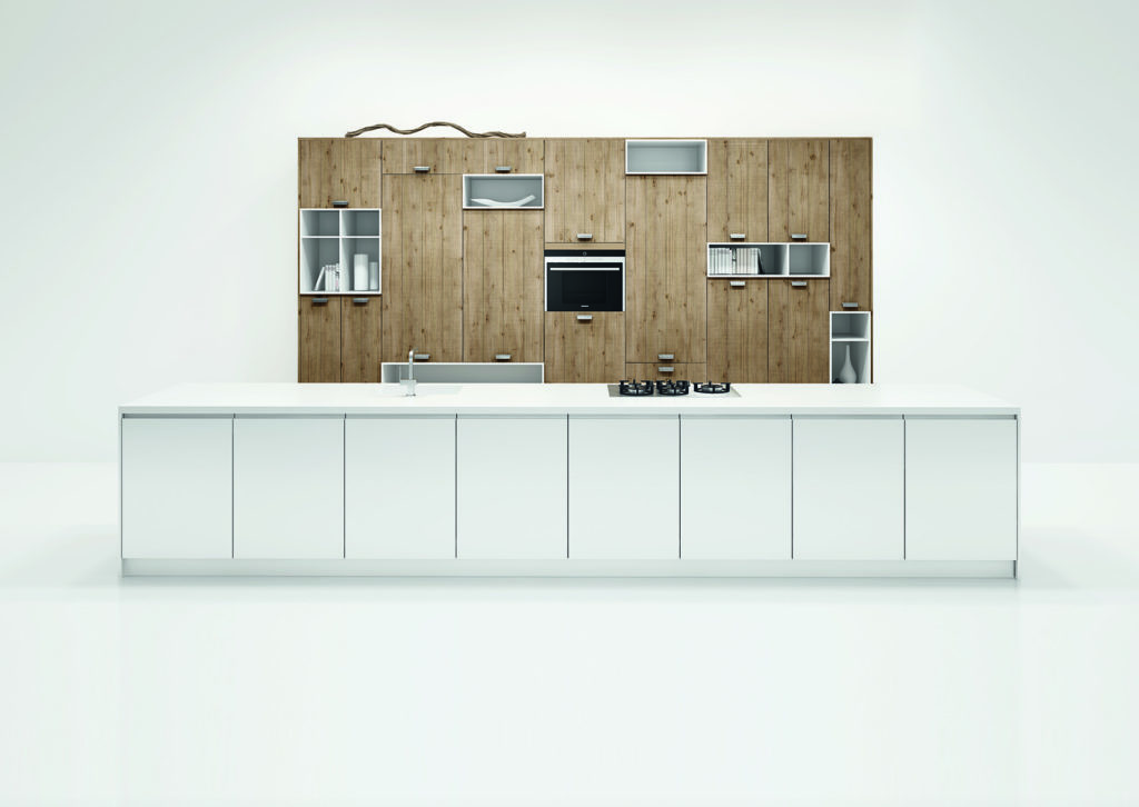 Rotpunkt White Gloss Handleless And Rough Cut Oak Island Kitchen
