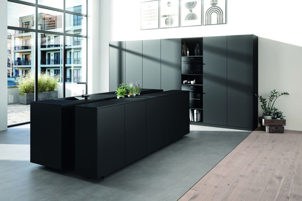 Rotpunkt Matt Black and Lava Grey Handleless Island Kitchen