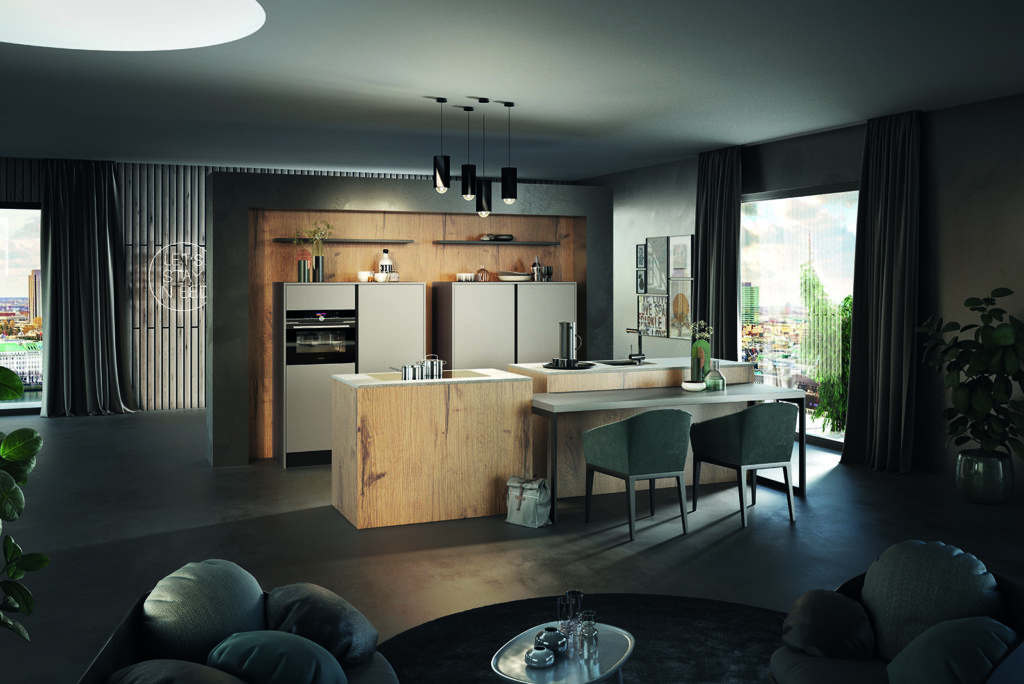 Rotpunkt Urban Wild Oak and Matt Sand Island Kitchen