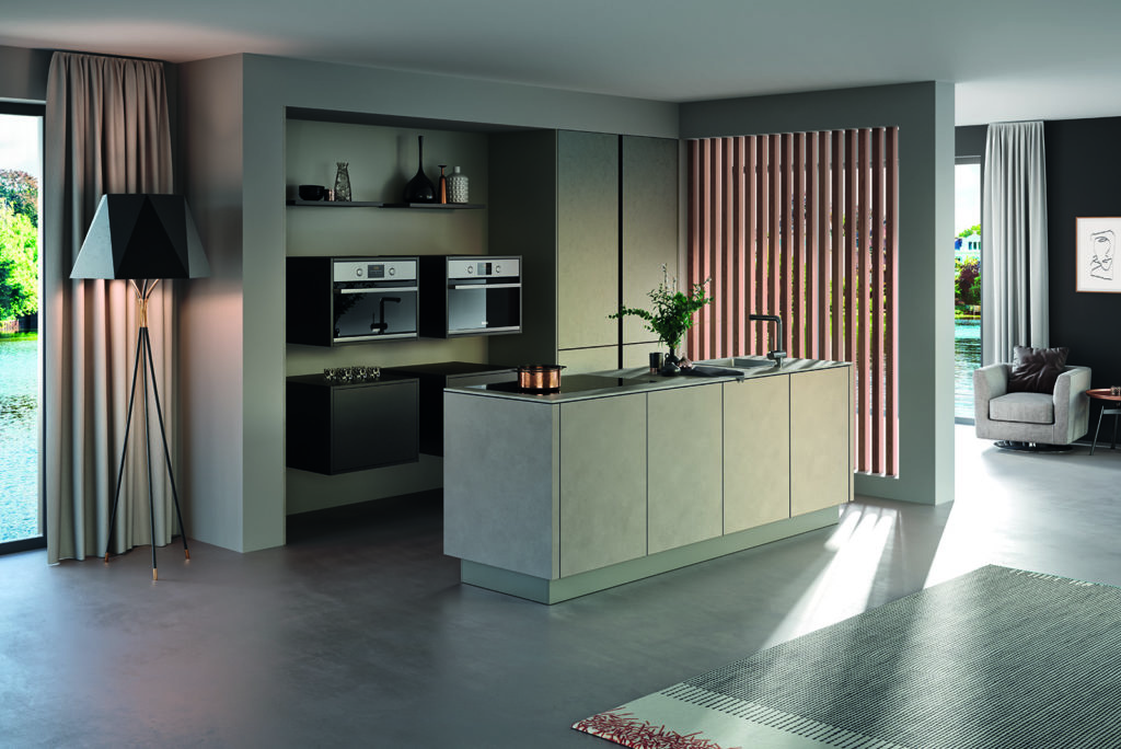 Rotpunk Concrete Look open plan kitchen 1 | Qudaus Living, Sutton Coldfield