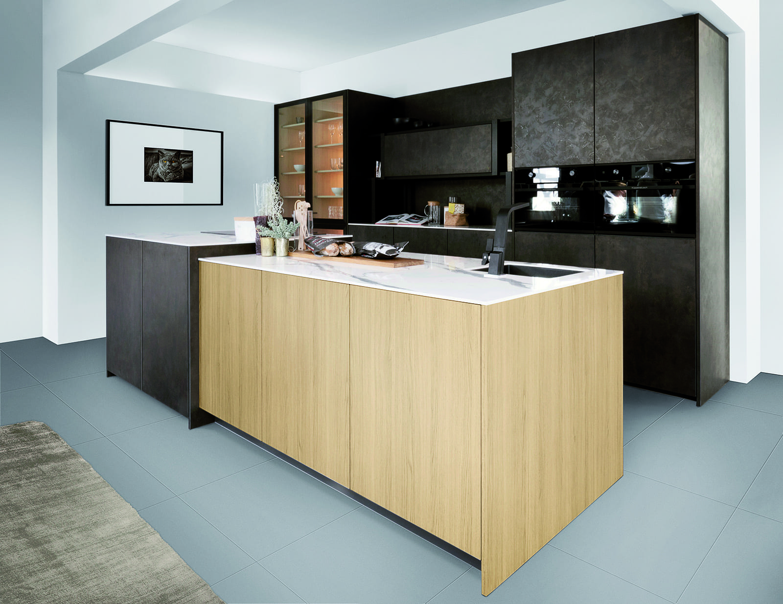 Rotpunkt City oak and Metallic Brown Steel Handleless Island Kitchen | Qudaus Living
