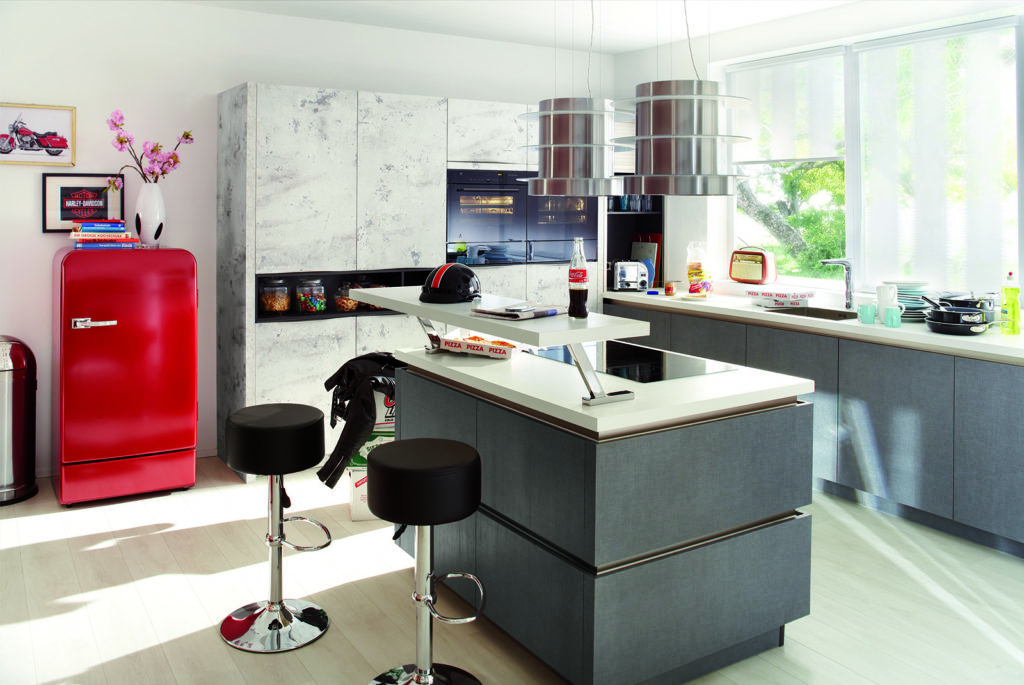 Rotpunkt Stone Look White Marble and Grey texture Island Kitchen | Qudaus Living, Sutton Coldfield