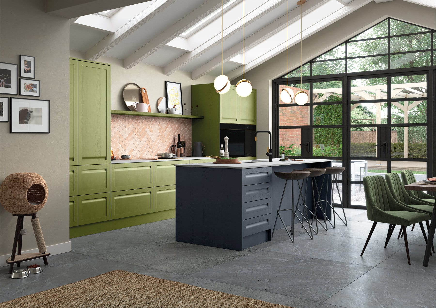 Harborne Slate Blue Stone And Cms Citrus Green Cameo 1 Rgb | Qudaus Living | Modern Kitchens Sutton Coldfield