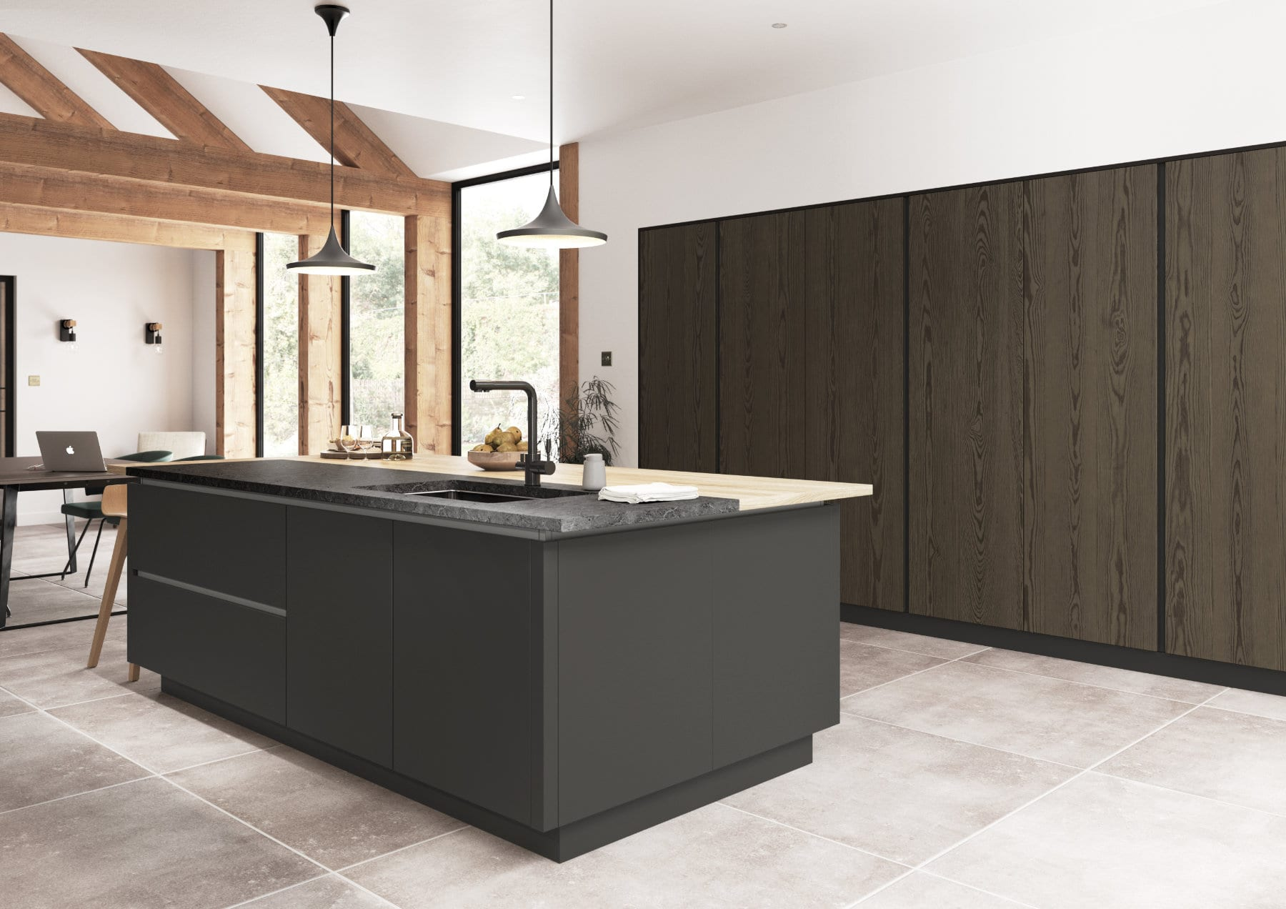 Kelso Truffle Grey And Zola Matte Graphite Cameo 6 Rgb | Qudaus Living | Modern Kitchens Sutton Coldfield