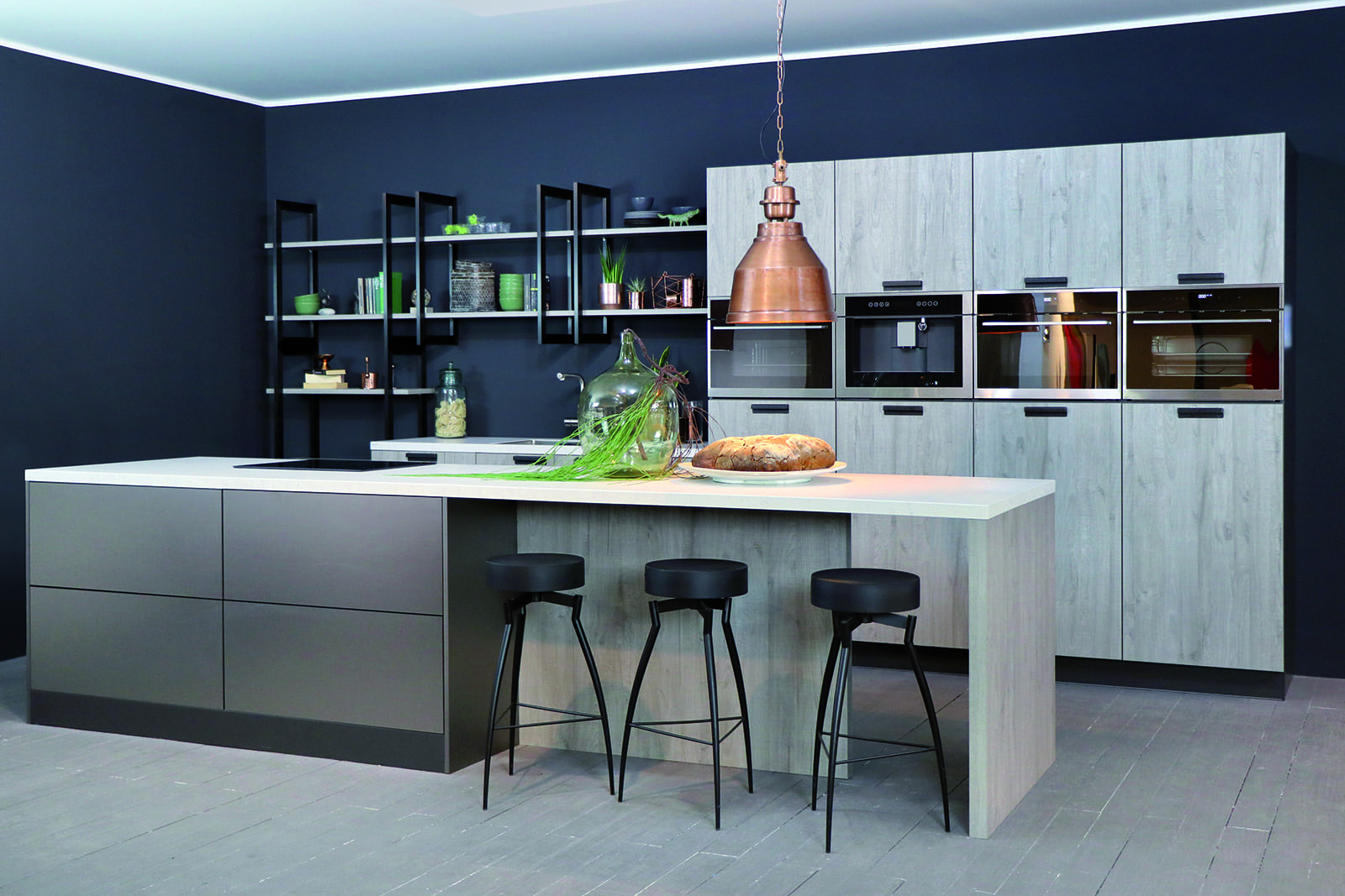 Rotpunk Metallic Look Pearl and Sherwood Mahattan Wood Island Kitchen | Net Kitchens Direct