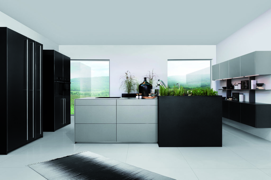Rotpunkt Metallic Look Grey and Matt Black Island Kitchen 2 - Net Kitchens Direct, Walthamstow