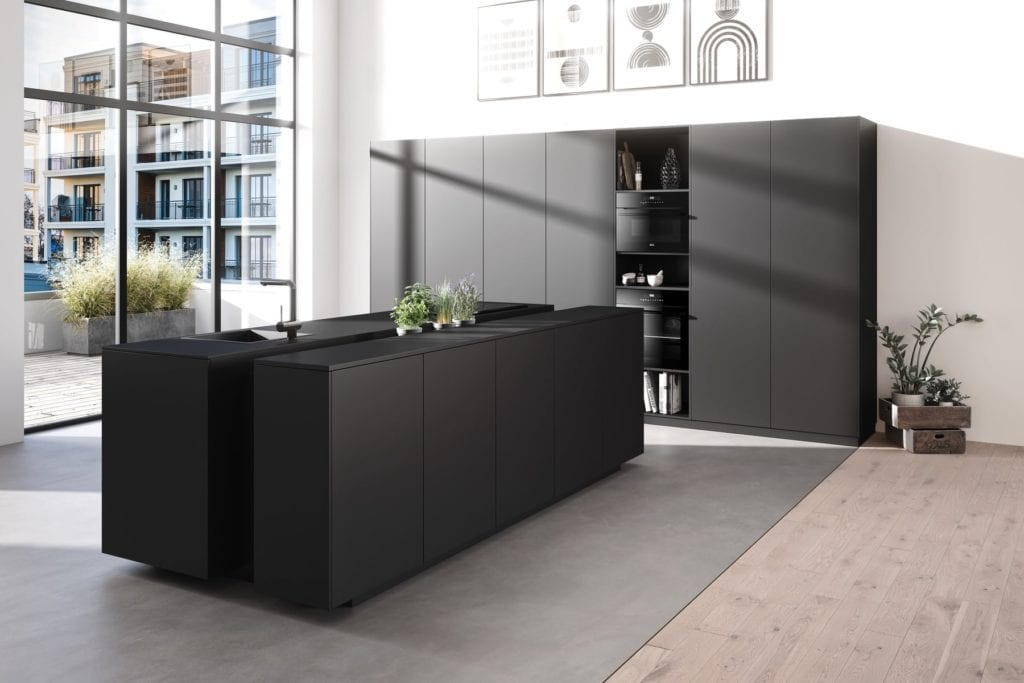 Rotpunkt Brushed Metal Dark Handleless Kitchen With Island