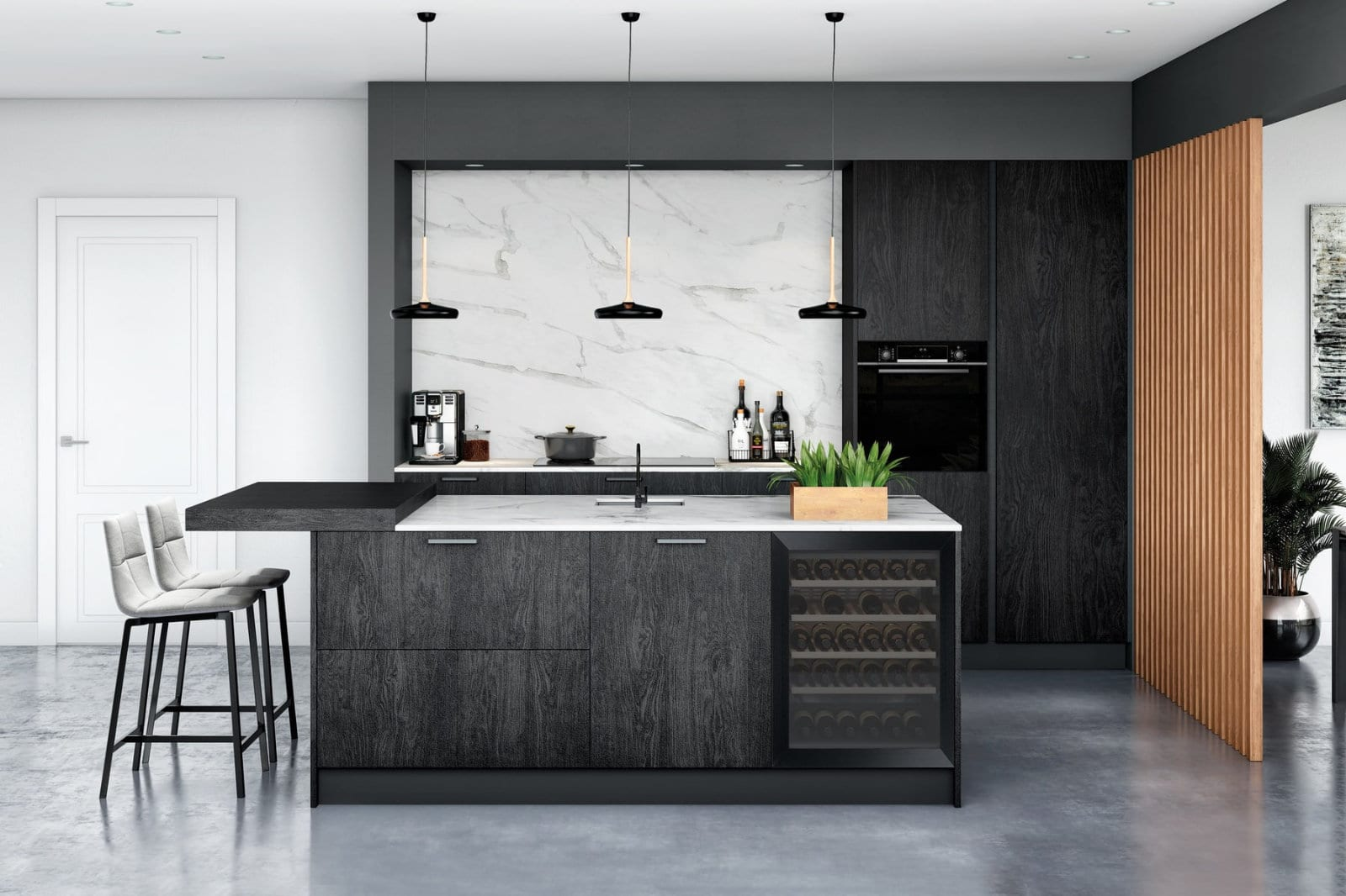 Rotpunkt Memory Burned Wood With Textured Paint Finish | Alon Interiors, Kent