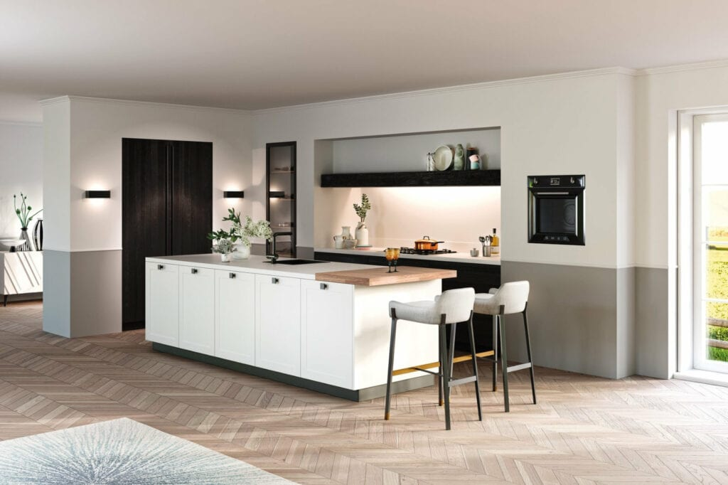 Rotpunkt White Painted Wood Door Kitchen With Cast Iron Handles | Alon Interiors, Kent