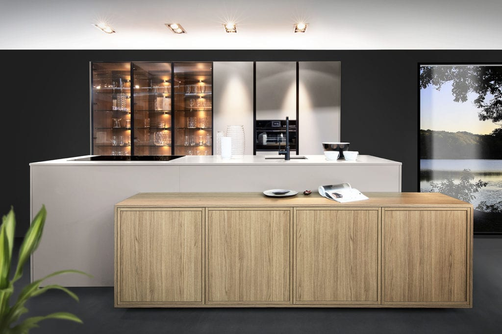 Rotpunkt Framed Wood City Brown Oak and Matt Umbra Island Kitchen 3 - The Design Yard, Dublin