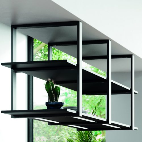 Ceiling hanging shelving with LED lighting