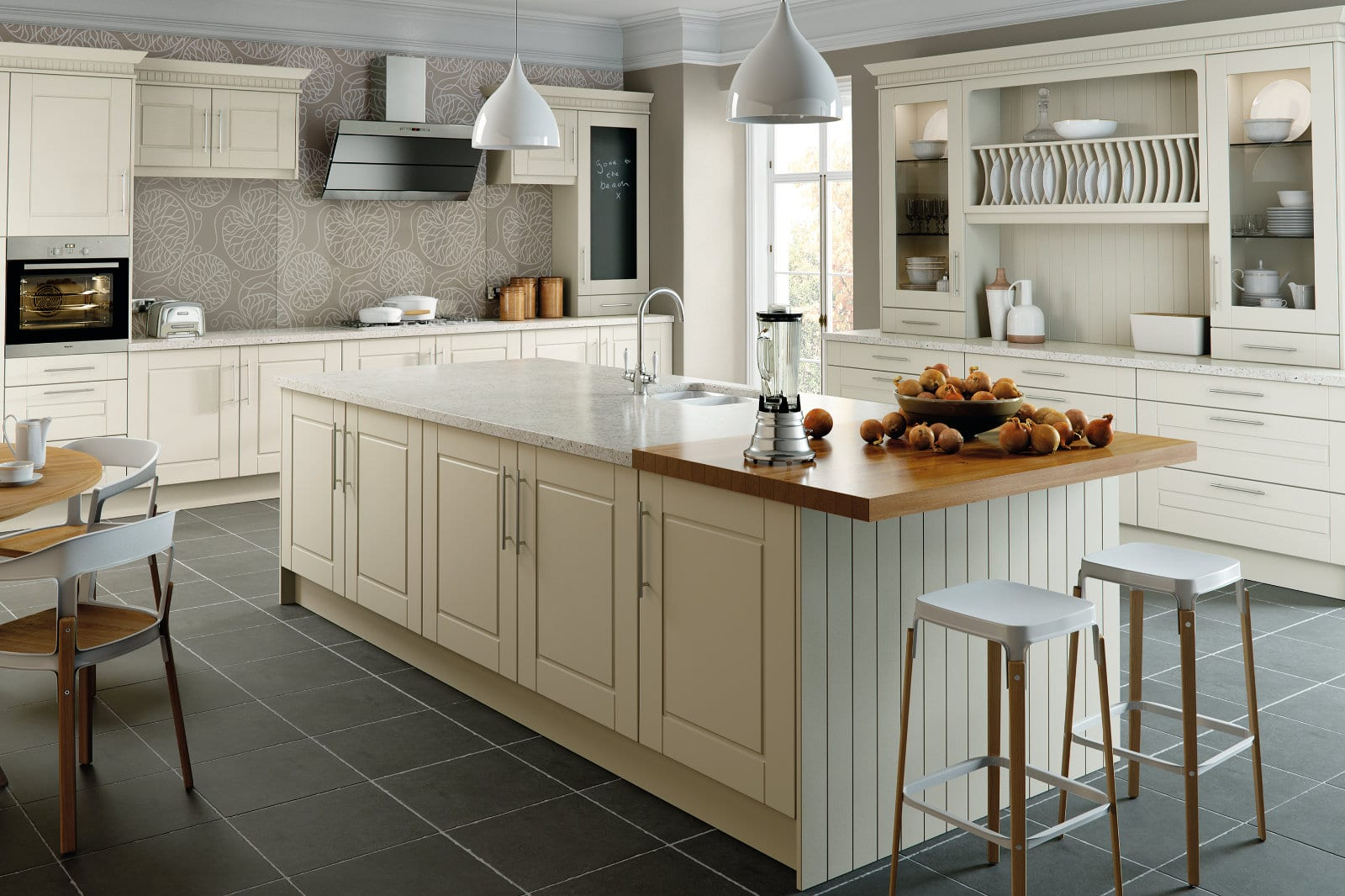 Blossom Avenue Alabaster Surrey L-Shaped Open Plan Kitchen With Island   Right Choice Kitchens, South Wales