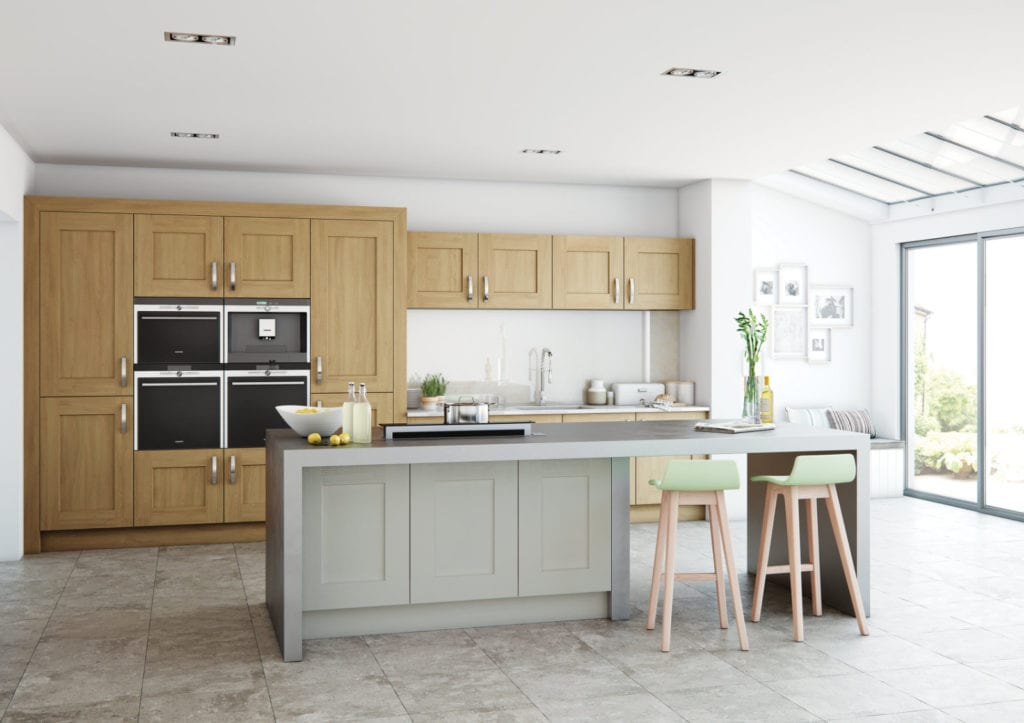 Alku Wood + Matt Grey Shaker Open Plan Kitchen With Island | Right Choice Kitchens, South Wales