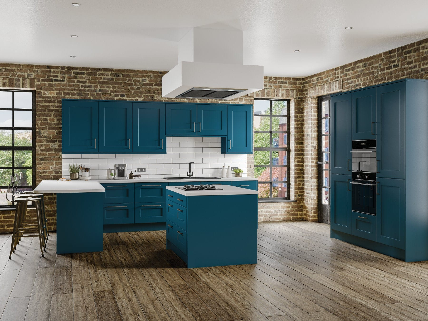 Jjo Caton Midnight Blue Open Plan Kitchen With Island | Right Choice Kitchens, South Wales