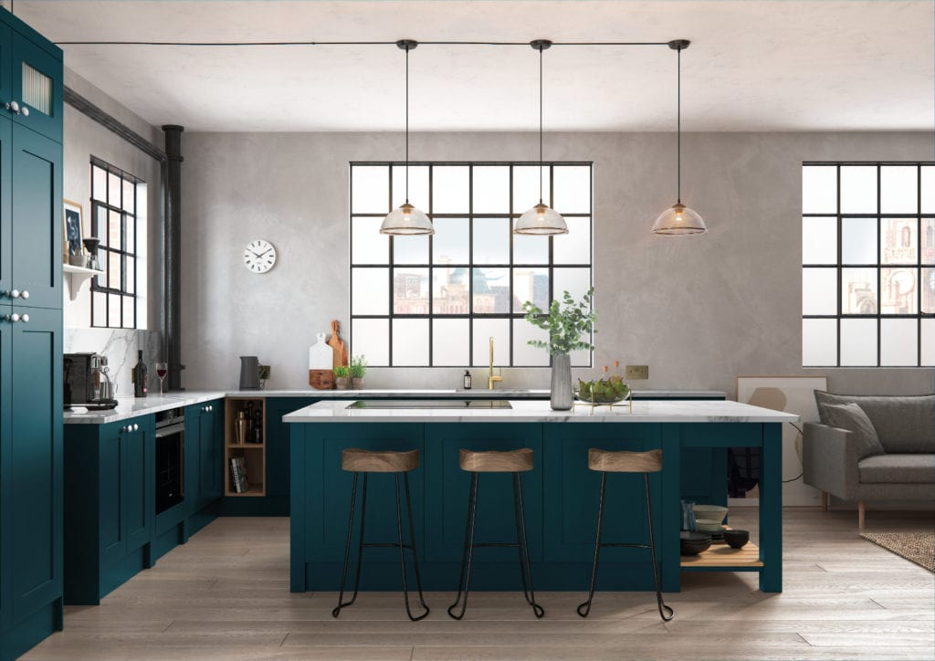 Alku Teal L-Shaped Shaker Open Plan Kitchen With Island   Right Choice Kitchens, South Wales