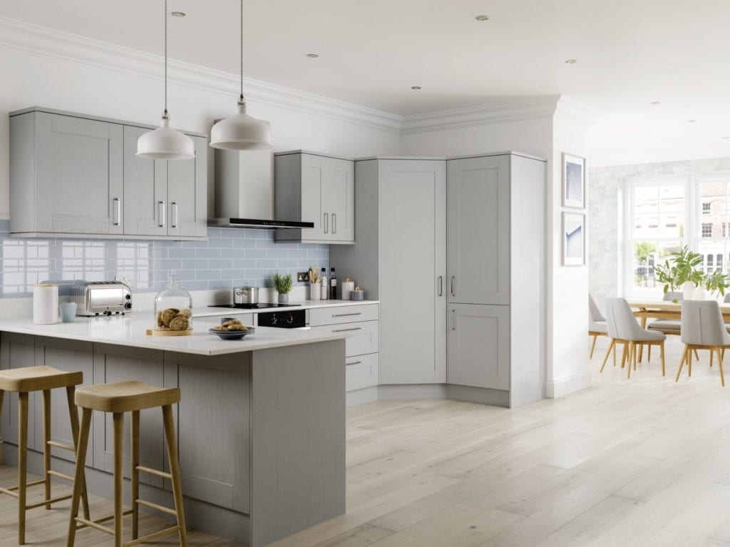 JJO Grey L-Shaped Kitchen | Right Choice Kitchens, South Wales