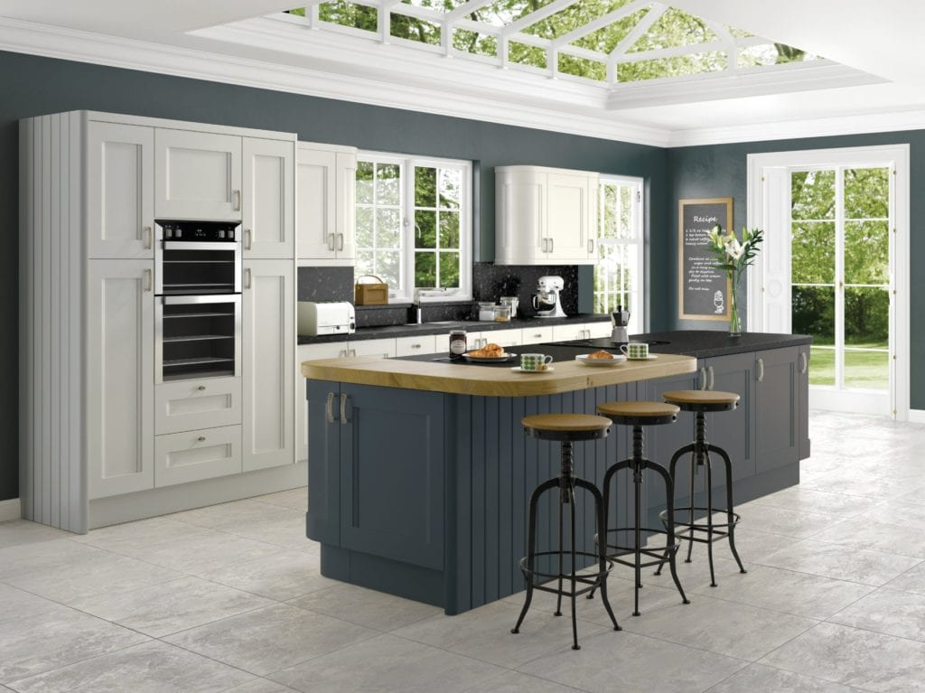 Jjo Haddington Storm Grey With Anthracite Kitchen With Island | Right Choice Kitchens, South Wales