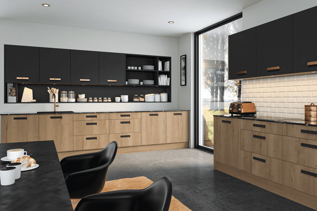 Blossom Avenue Halifax Natural Oak And Matt Graphite Lazio Kitchen | Right Choice Kitchens, South Wales