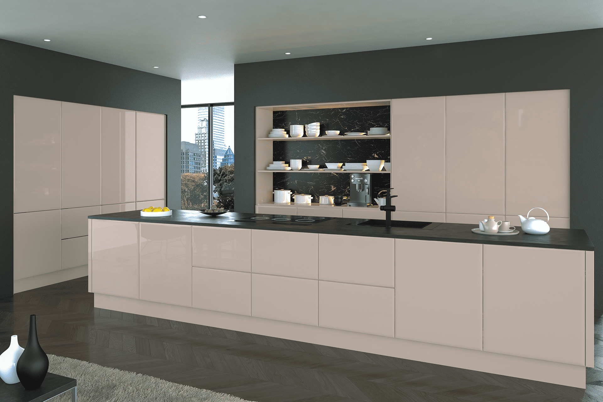 Blossom Avenue High Gloss Cashmere Lincoln Kitchen | Right Choice Kitchens, South Wales