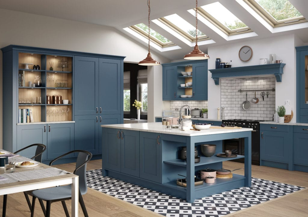 Alku Blue Shaker L-Shaped Open Plan Kitchen With Island | Right Choice Kitchens, South Wales
