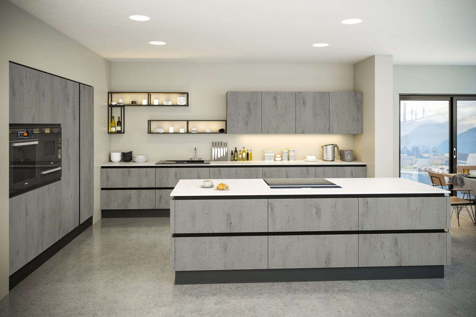 Blossom Avenue London Concrete Venice L-Shaped Kitchen With Island | Right Choice Kitchens, South Wales