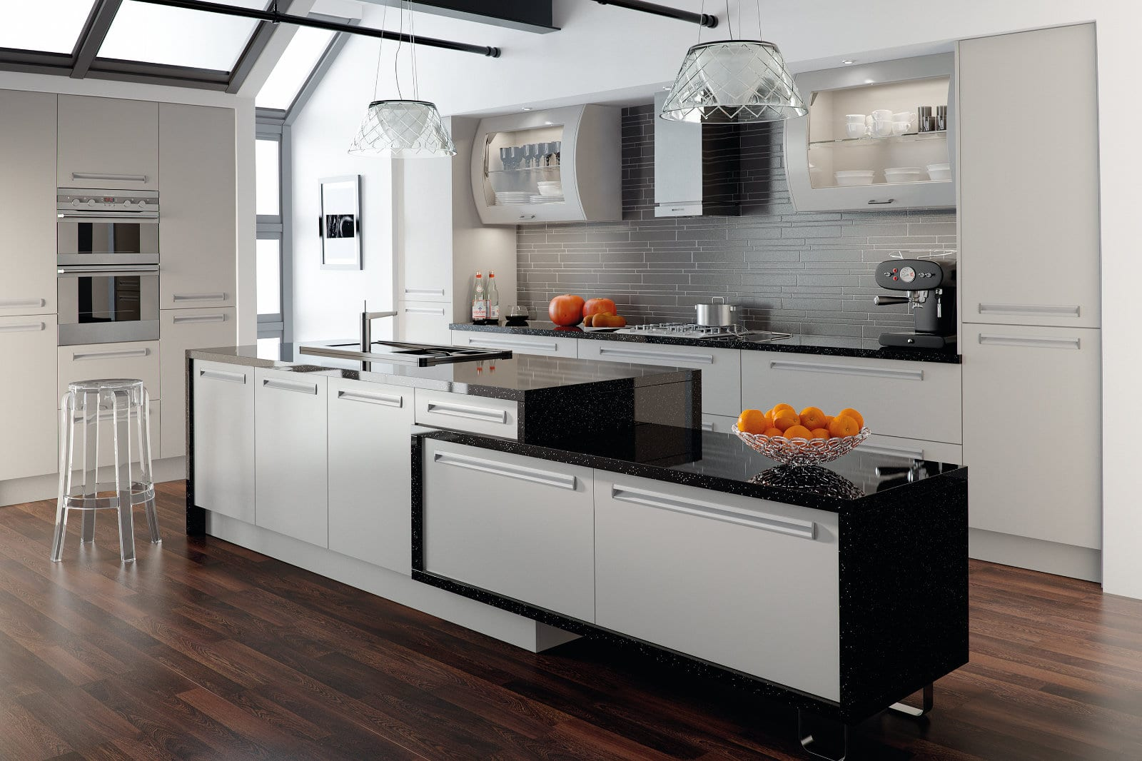 Blossom Avenue Matt Dove Grey Venice Kitchen With Inset Handle Kitchen With Island | Right Choice Kitchens, South Wales