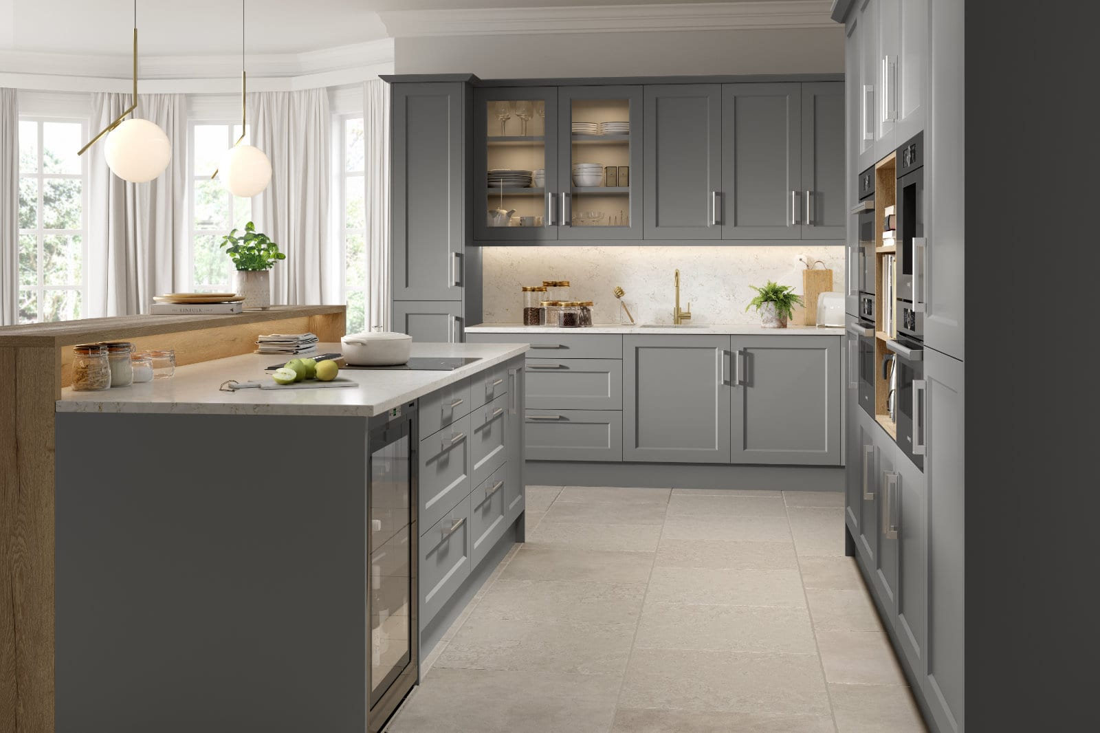 Blossom Avenue Matt Dust Grey Style Richmond L-Shaped Kitchen With Island | Right Choice Kitchens, South Wales