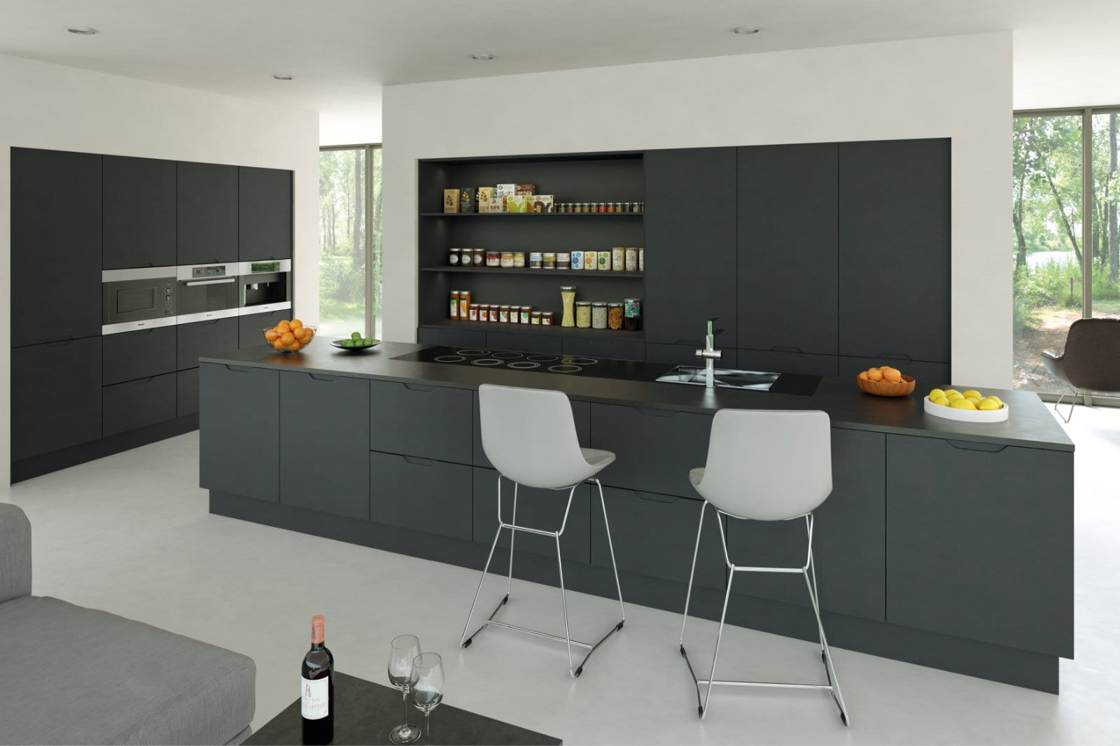 Blossom Avenue Matt Graphite Integra Open Plan Kitchen With Island | Right Choice Kitchens, South Wales