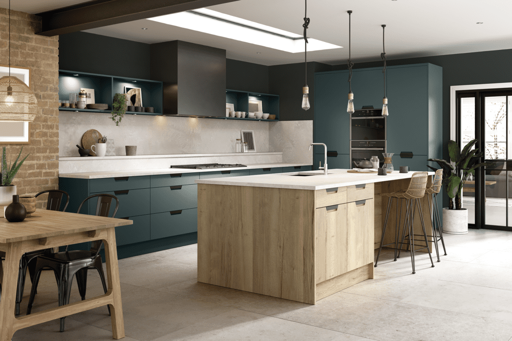 Blossom Avenue Matt Kombu Green And Halifax Natural Oak Segreto L-Shaped Kitchen With Island | Right Choice Kitchens, South Wales