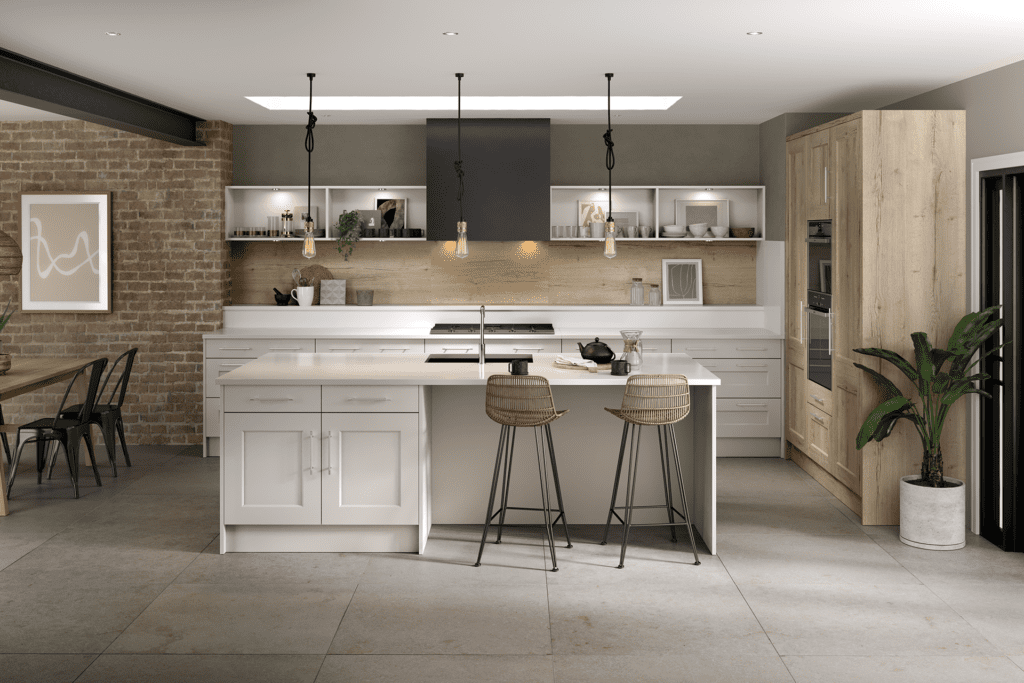 Blossom Avenue Matt Pebble And Halifax White Oak Cambridge L-Shaped Kitchen With Island | Right Choice Kitchens, South Wales