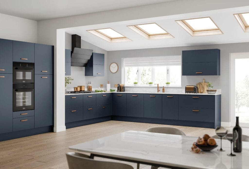 JJO Metro Indigo Open Plan L-Shaped Kitchen | Right Choice Kitchens, South Wales