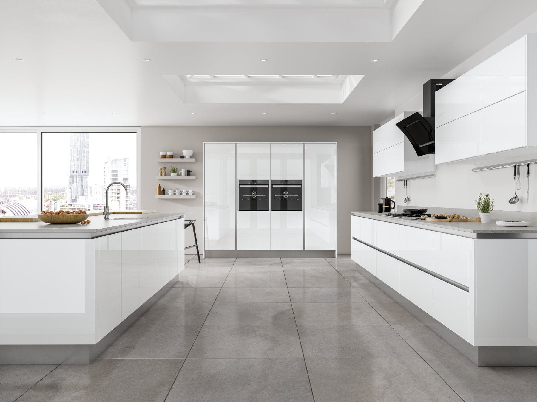 Jjo Moderna Gloss White Open Plan Kitchen With Island | Right Choice Kitchens, South Wales