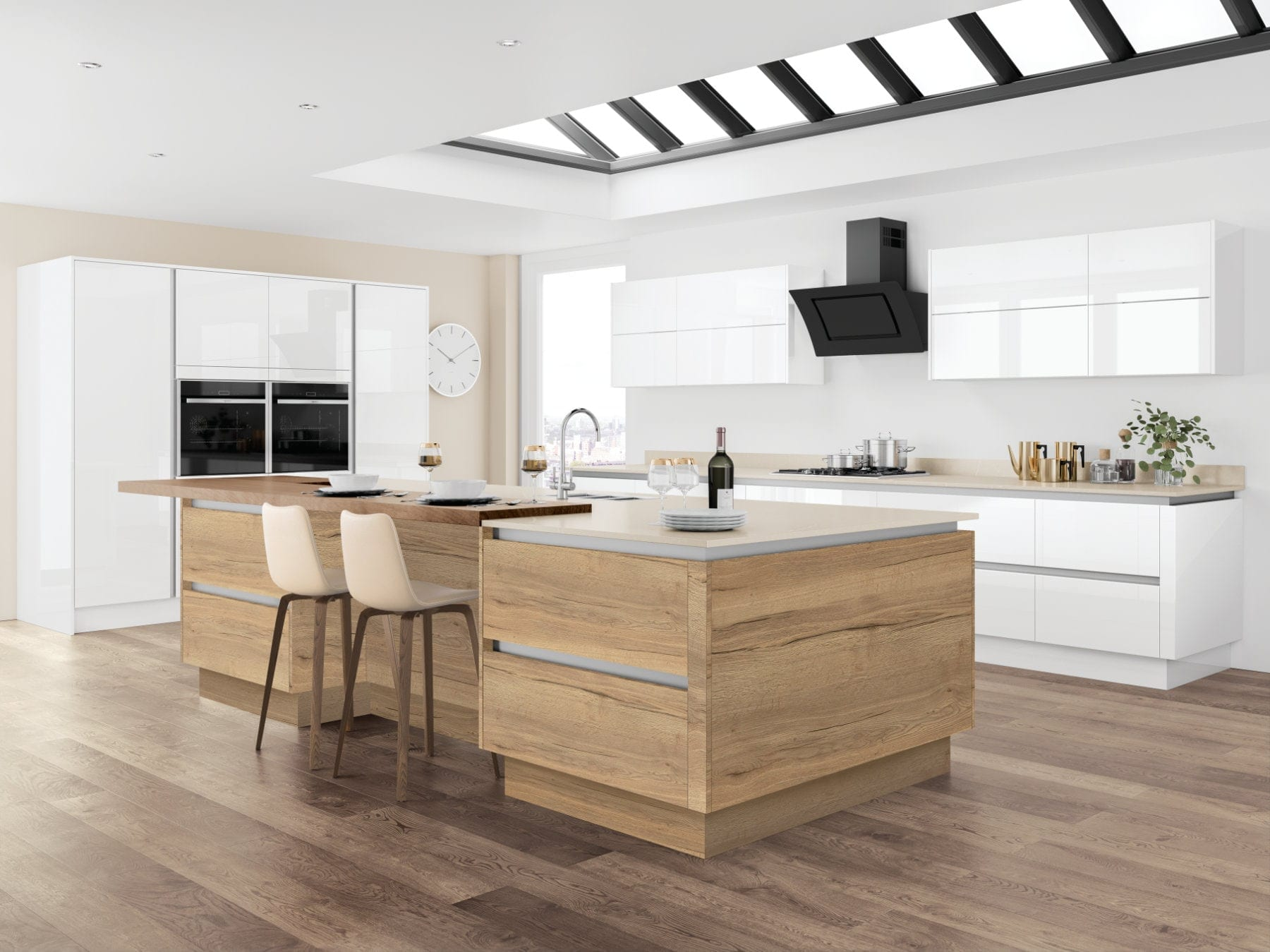 Jjo Moderna Gloss White With Halifax Oak Open Plan Kitchen With Island | Right Choice Kitchens, South Wales
