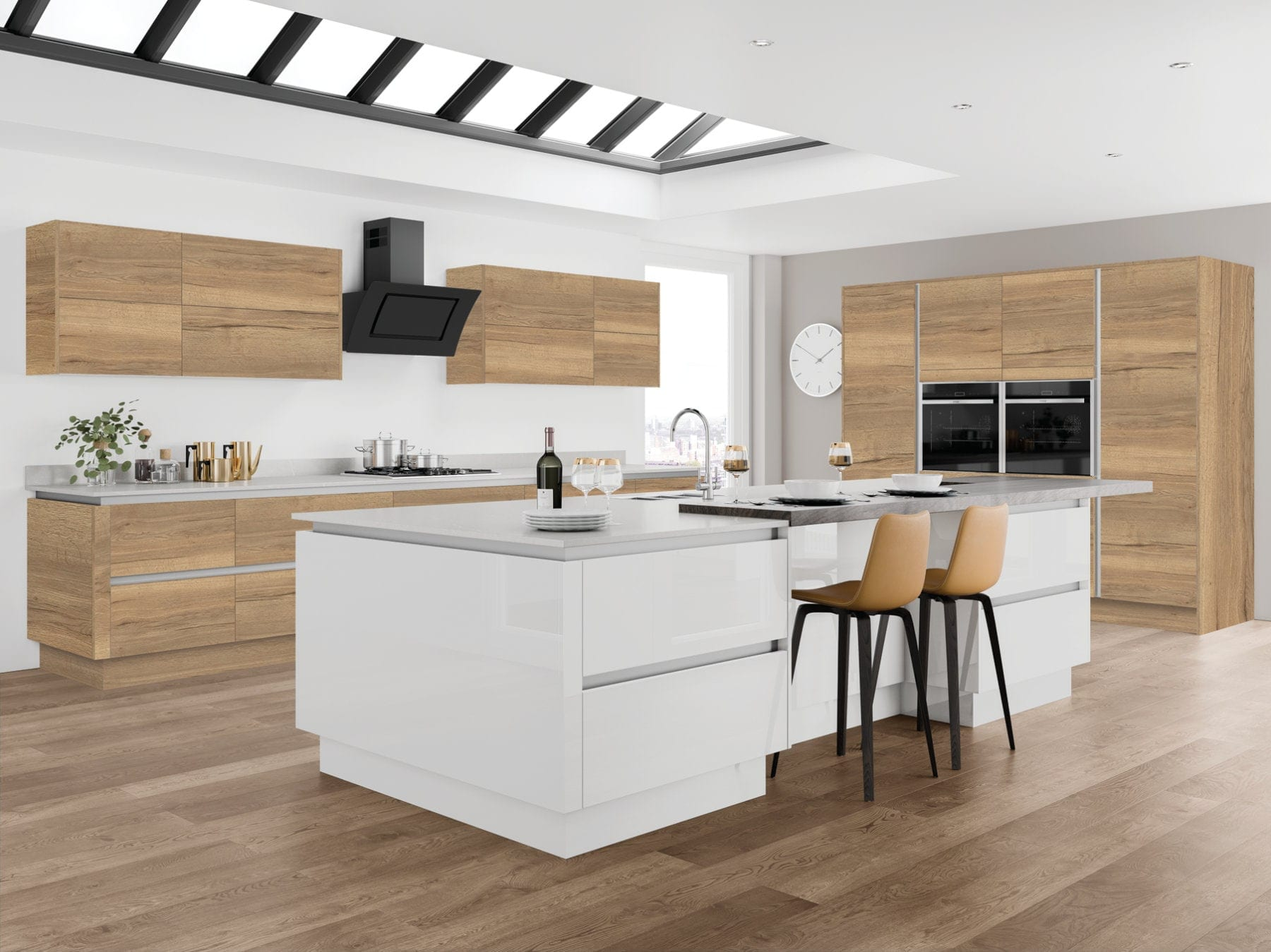Jjo Moderna Halifax Oak With Gloss White Open Plan Kitchen With Island | Right Choice Kitchens, South Wales