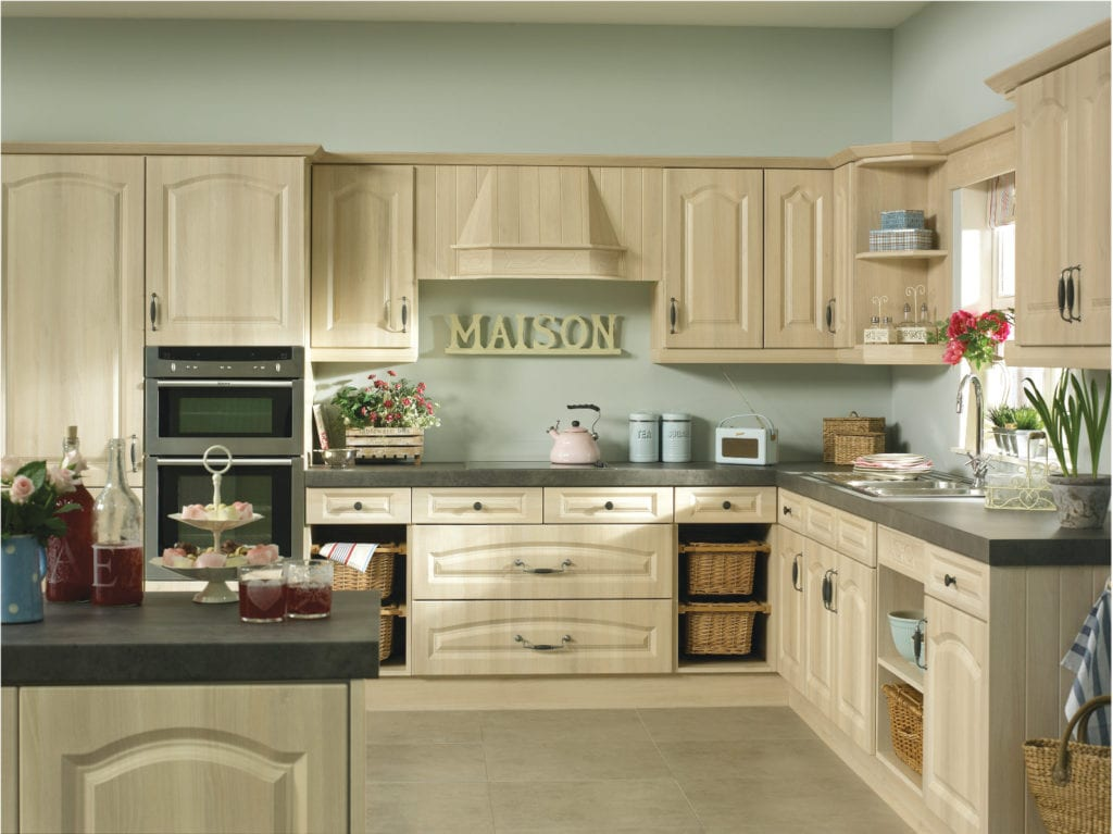 Blosson Avenue Moldau Acacia Canterbury L-Shaped Kitchen | Right Choice Kitchens, South Wales