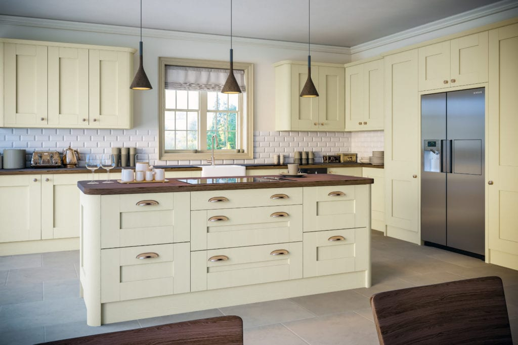Blossom Avenue Oakgrain Cream Shaker L-Shaped Kitchen With Island | Right Choice Kitchens, South Wales