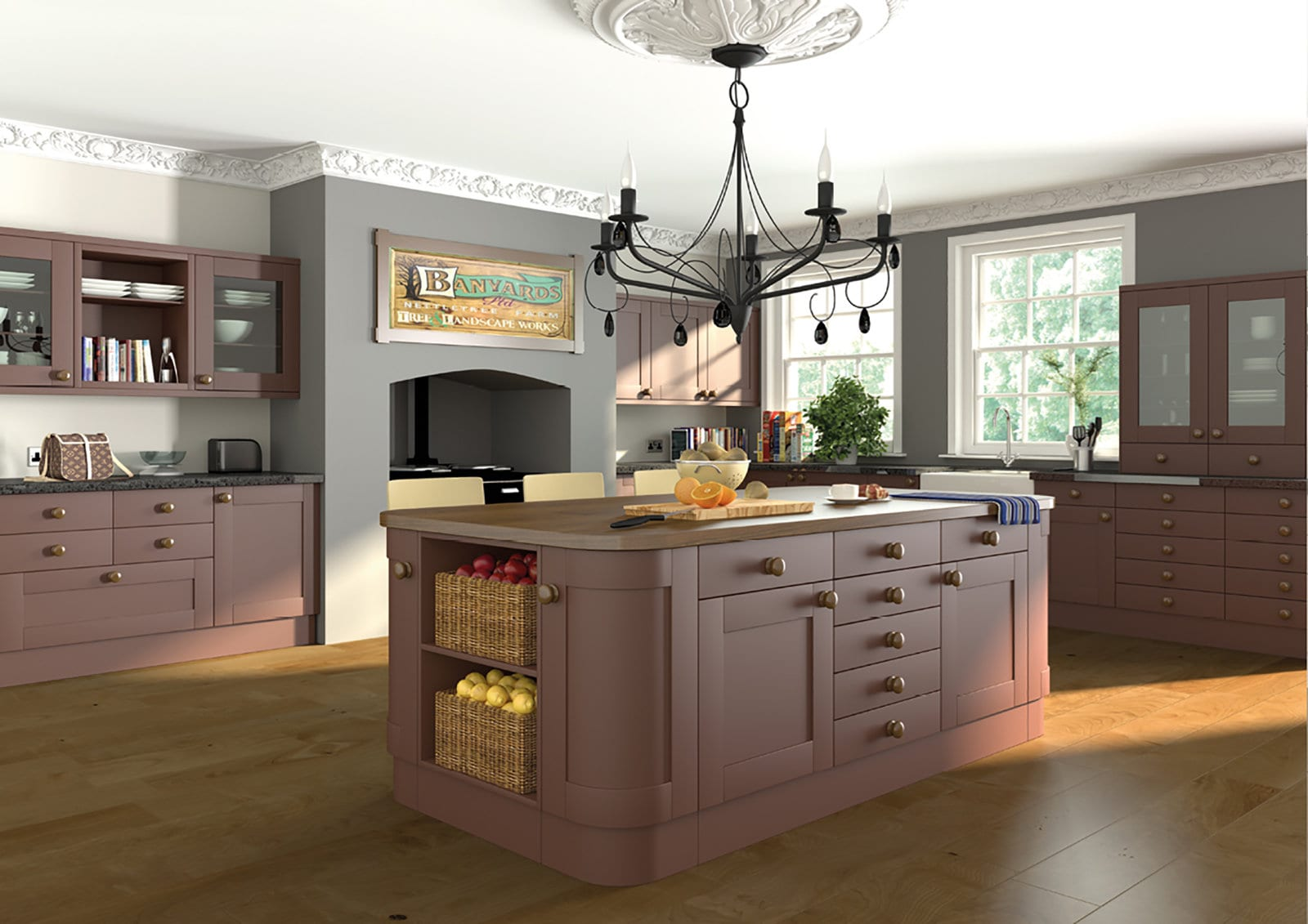 Blossom Avenue Pink Shaker Open Plan L-Shaped Kitchen With Island | Right Choice Kitchens, South Wales