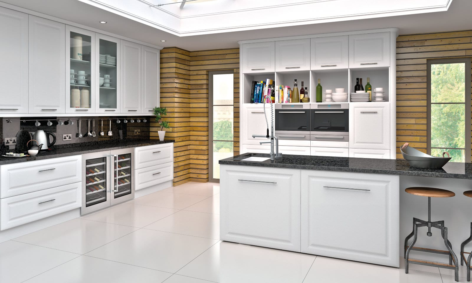 Blossom Avenue Satin White York L-Shaped Shaker Kitchen With Island | Right Choice Kitchens, South Wales