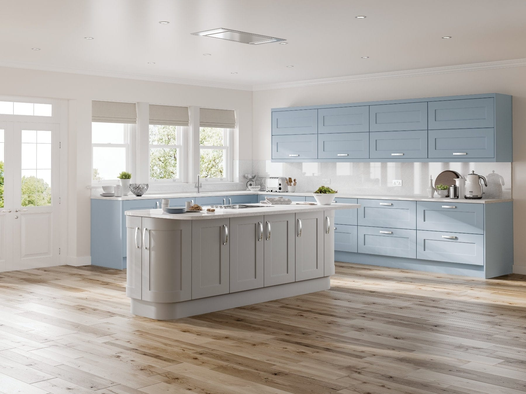 Jjo Solent Denim Blue And Grey Mist L-Shaped Kitchen With Island | Right Choice Kitchens, South Wales