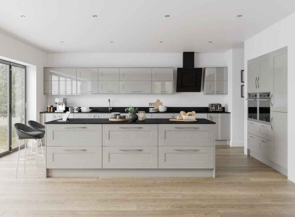 Jjo Solent Gloss Grey Mist Open Plan Kitchen With Island | Right Choice Kitchens, South Wales