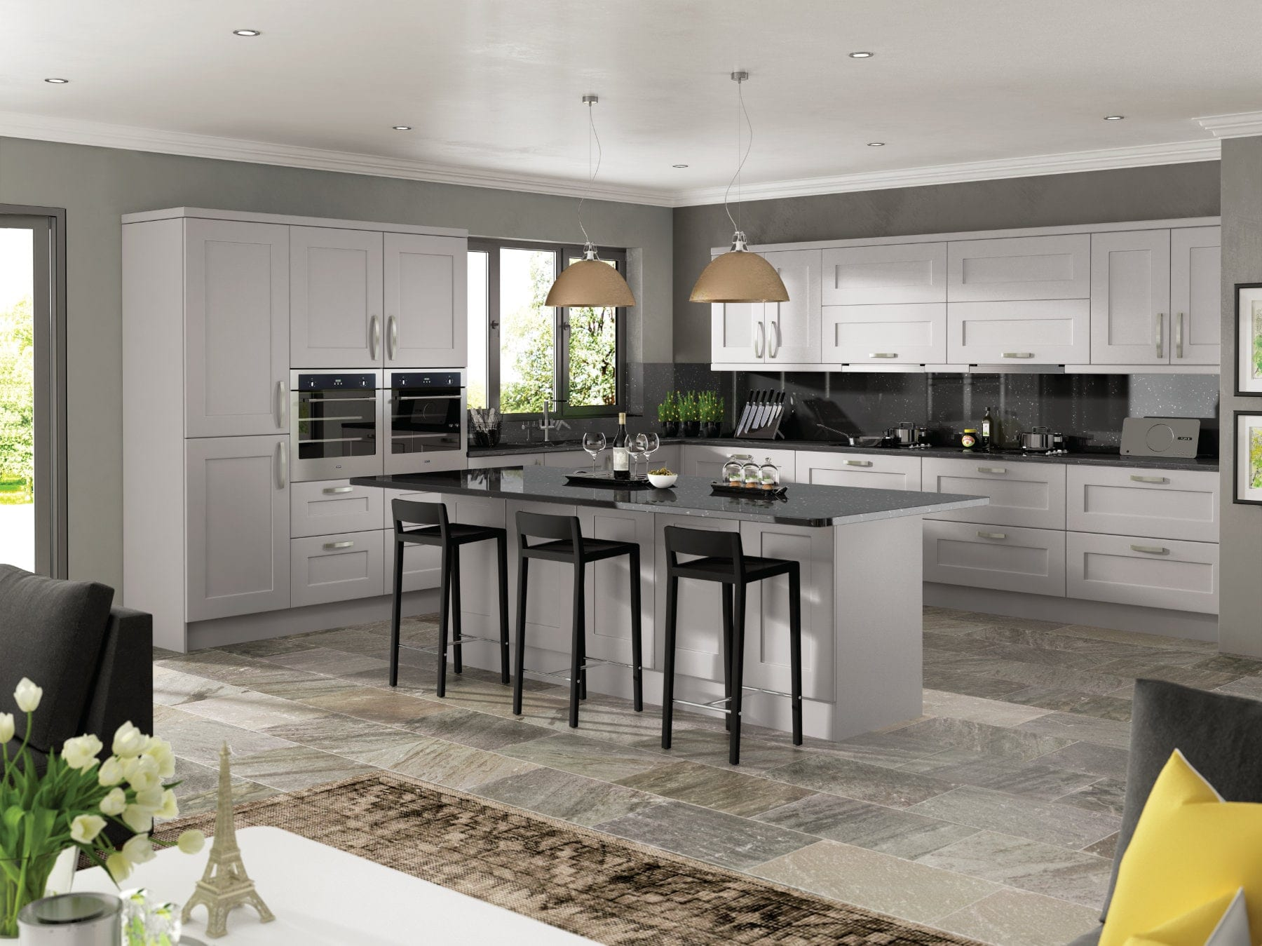 Jjo Solent Kashmir Open Plan L-Shaped Kitchen With Island | Right Choice Kitchens, South Wales