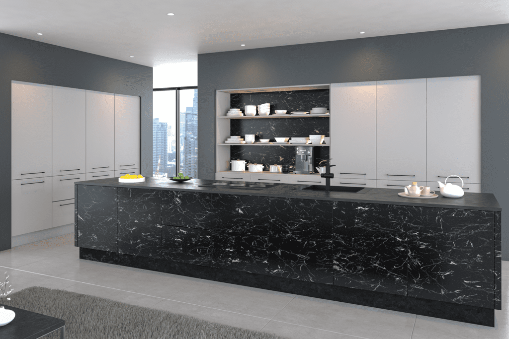 Blossom Avenue Valore Light Grey Oriental Black Open Plan Kitchen With Island | Right Choice Kitchens, South Wales
