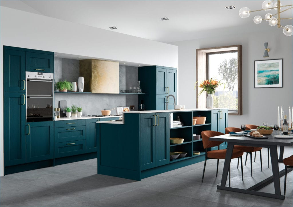 Alku Teal Shaker Open Plan Kitchen With Island | Right Choice Kitchens, South Wales