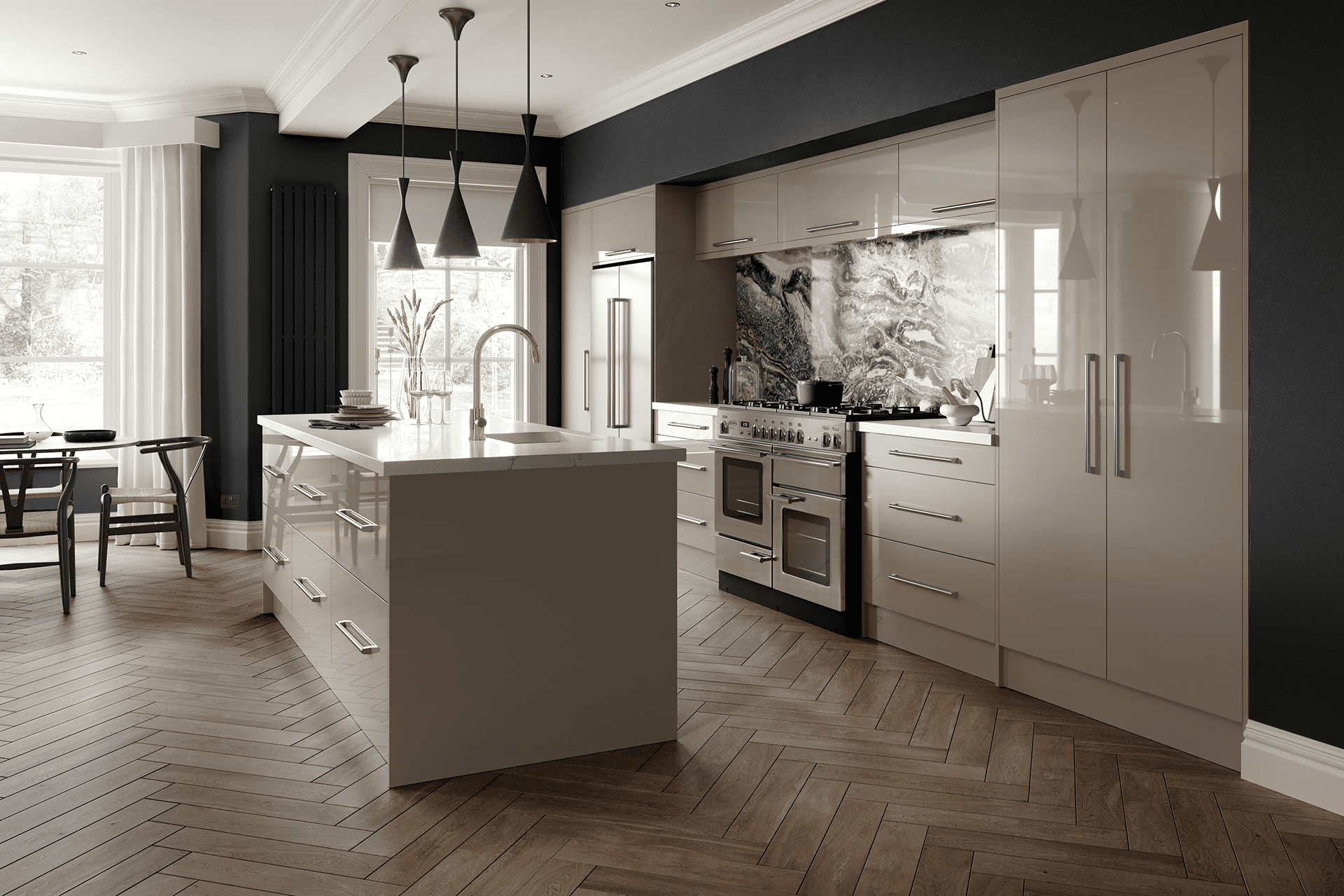 Blossom Avenue Zurfiz Ultragloss Stone Grey Open Plan With Island | Right Choice Kitchens, South Wales