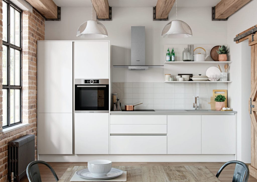 Alku Modern Matt White Handleless Compact Kitchen | Right Choice Kitchens, South Wales