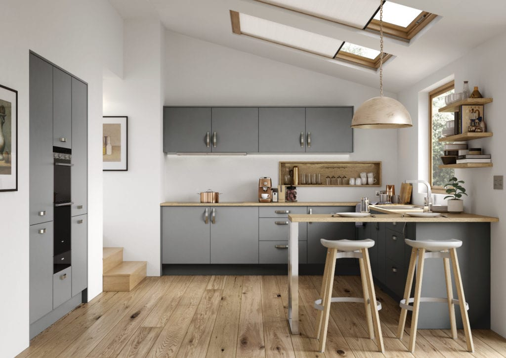 Alku Modern Matt Grey U-Shaped Kitchen | Right Choice Kitchens, South Wales
