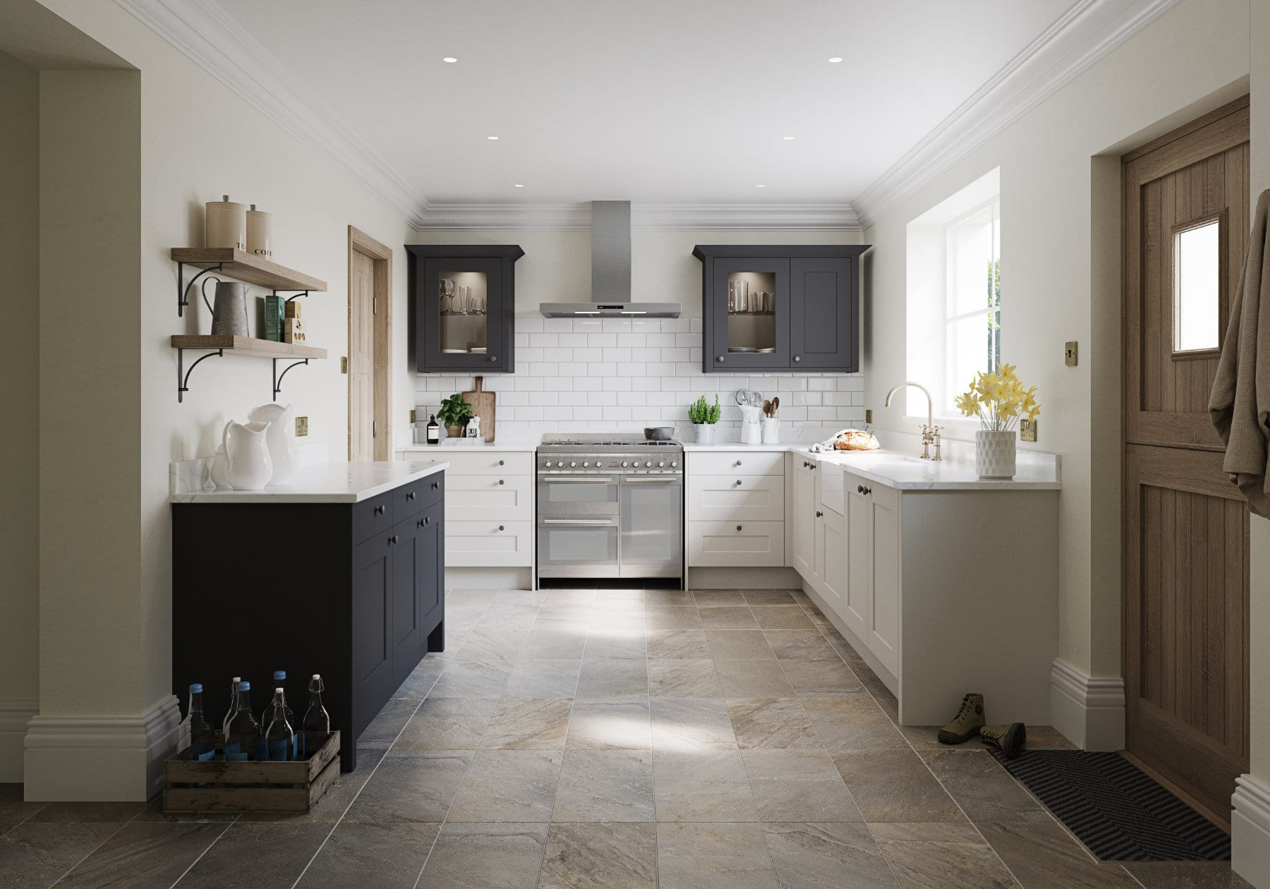 Daval Meltham Dove Grey Charcoal Shaker Traditional Kitchen | Torben Schmid Kitchens, Truro