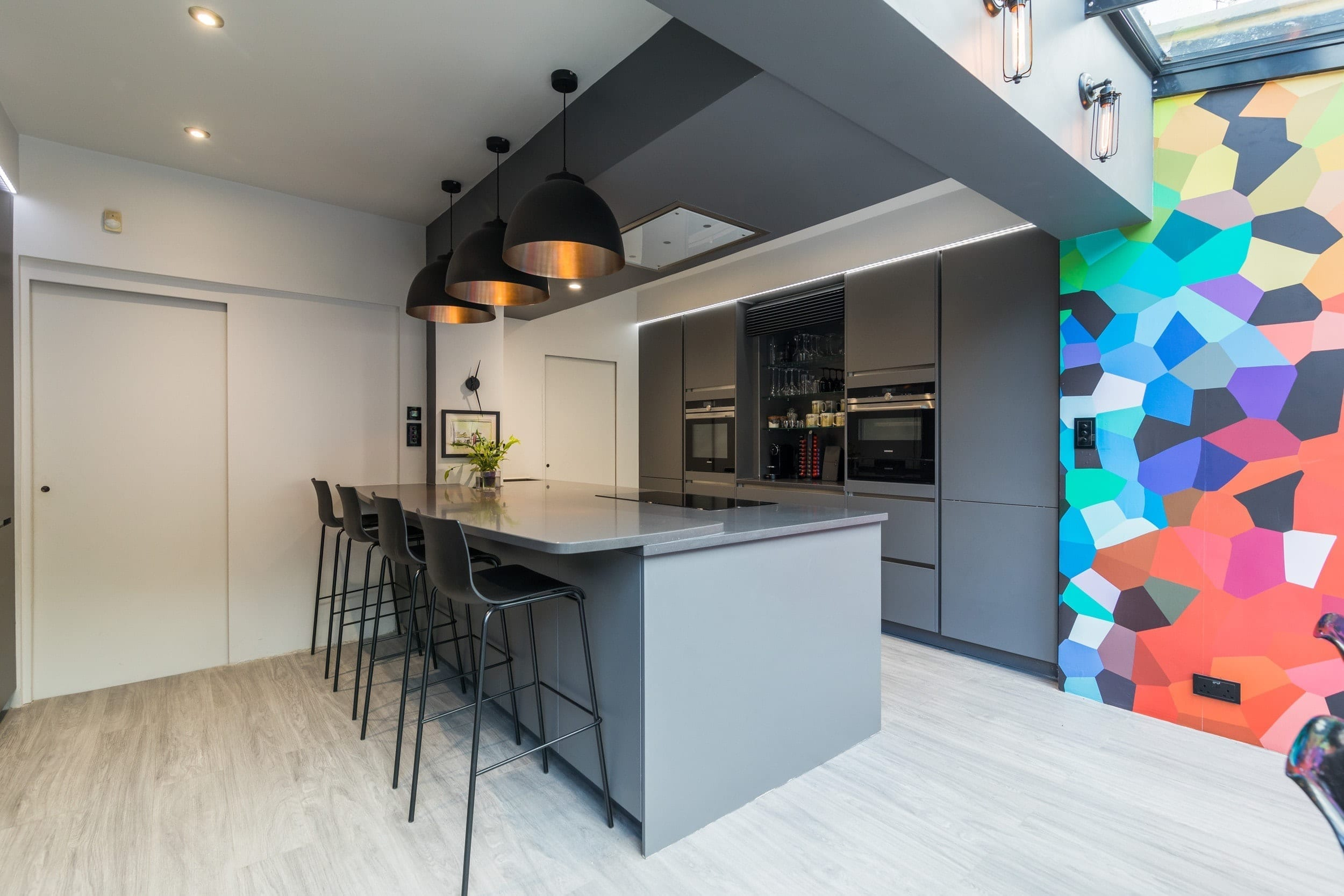 5 Handleless grey open plan kitchen - The Design Yard, Dublin