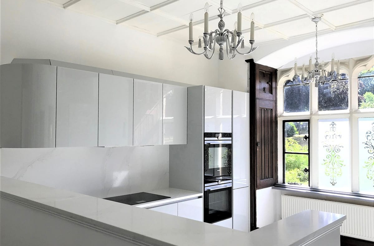 Gloss Lacquer Light Grey Kitchen